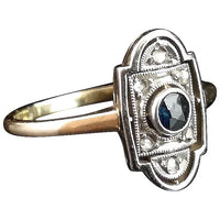Art Deco Sapphire and Diamond ring, 9ct gold and platinum