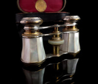 Antique mother of pearl Opera glasses, cased