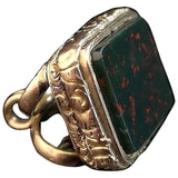 Antique 9ct gold Bloodstone seal fob