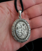 Antique Victorian silver locket, ivy leaf