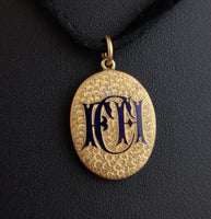 Victorian 15ct gold and blue enamel locket pendant