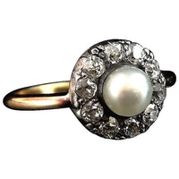Antique Diamond and pearl cluster ring, 18ct gold