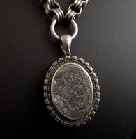 Reserved - Victorian silver locket, collar necklace