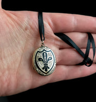 Antique gold mourning locket, Victorian, black enamel