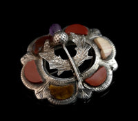 Antique Scottish silver brooch, agate and amethyst