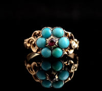 Antique Georgian mourning ring, 22ct gold, turquoise and Ruby