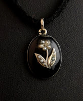 Antique Victorian mourning locket, pendant, 15ct gold, pearl