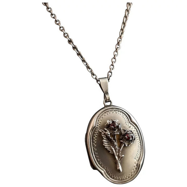 Vintage silver locket, Garnet paste roses, necklace