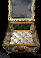 Antique French jewellery casket, ormolu box