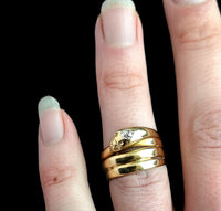 Antique Victorian snake ring, 18ct gold, Diamond