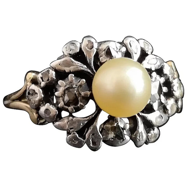 Antique Georgian diamond and pearl ring, 18ct gold