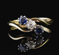 Vintage Art Deco Sapphire and Diamond crossover ring, 18ct gold and platinum