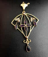 Antique Art Nouveau lavalier pendant, 9ct gold, Amethyst and pearl