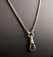 Victorian longuard chain, muff chain necklace, silver plated