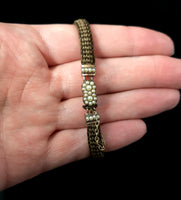 Antique Victorian mourning bracelet, hairwork and seed pearl