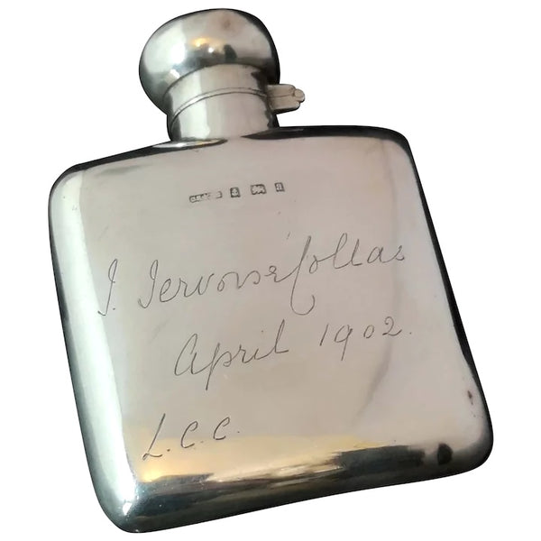 Antique Victorian silver hip flask