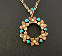 Antique Art Nouveau floral pendant, 15ct gold l, pearl and turquoise, necklace