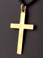 Antique 9ct gold Cross pendant, Edwardian, mourning
