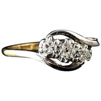 Vintage Art Deco diamond trilogy ring, 18ct gold and platinum, Crossover
