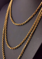 Antique Georgian longuard chain, muff chain necklace
