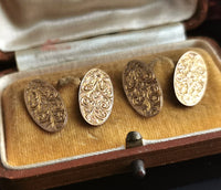 Antique 9ct gold cufflinks, floral engraved, boxed