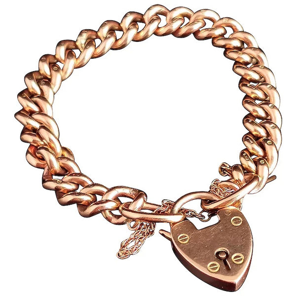 Victorian 9ct Rose gold curb bracelet, heart padlock, solid