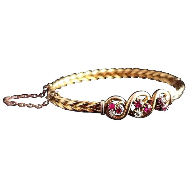 Victorian 15ct gold Ruby and Diamond bangle