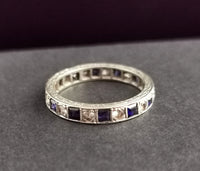 Vintage Art Deco Sapphire eternity ring, 9ct White gold