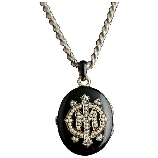 Victorian mourning locket, Black enamel and seed pearl, IMO