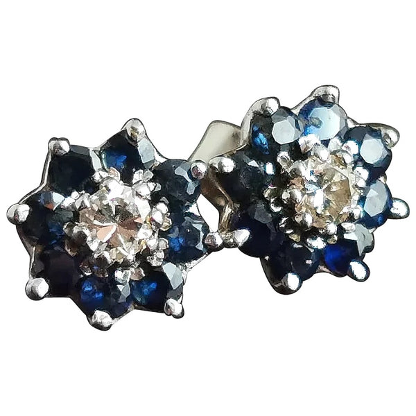 Vintage Diamond and Sapphire stud earrings, 9ct gold