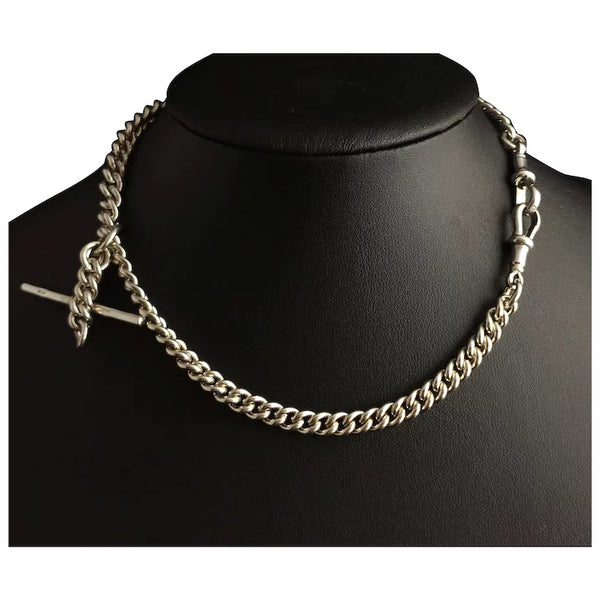 Vintage sterling silver double Albert chain, 1930's, watch chain
