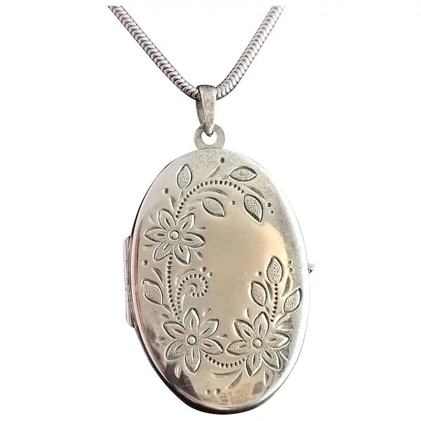 Vintage sterling silver locket necklace, 1970s, floral engraved
