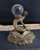 Antique bronze snake inkwell, crystal ball, compass