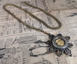 Antique guard chain, Victorian Pinchbeck, Imperial German medal, 1882