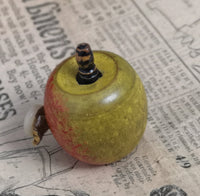 Antique novelty tape measure, Victorian wooden apple, Treen, miniature