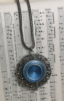 Antique sterling silver and guilloche enamel fob watch, marcasite pendant and silver chain