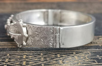 Victorian silver buckle bangle, antique aesthetic engraved