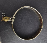 Antique Victorian dog collar, silver plated, with padlock and key