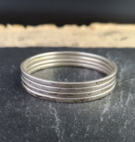 Vintage silver bangle set, Boho, stackable bangles, 20s