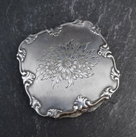 Vintage 50's silver compact, floral