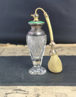 Vintage Art Deco scent bottle, sterling silver, crystal and guilloche enamel scent atomiser