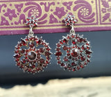 Antique Victorian bohemian garnet earrings, forget me not, dangly earrings