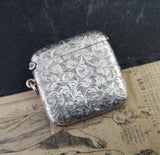 Antique sterling silver vesta case, engraved