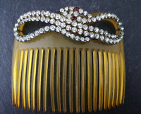 Antique Victorian paste snake hair comb, celluloid