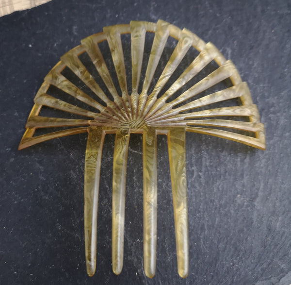 Antique Victorian mantilla hair comb, celluloid