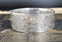 Antique silver cuff bangle, Victorian floral aesthetic