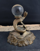 Antique bronze snake inkwell, crystal ball and compass, Rare signed