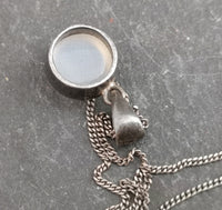 Antique silver moonstone pendant, Art Nouveau necklace