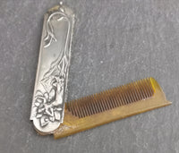 Antique silver moustache comb, Art Nouveau