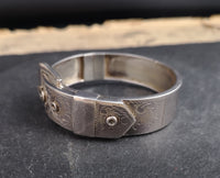 Vintage silver buckle bangle, engraved